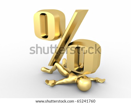 man crushed percent on white isolated background. 3d - stock photo