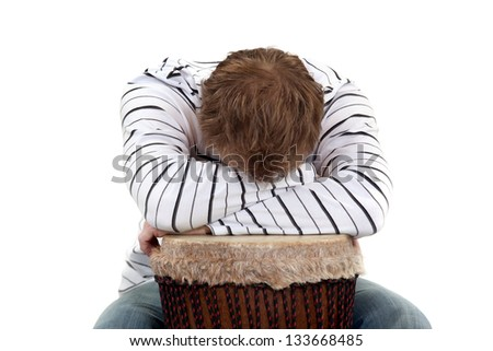 Man crying tears of frustration - stock photo