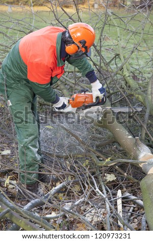 man cutting firewood with a chainsaw. wearing protective clothes for safety.