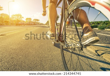 man cycling on the path - stock photo