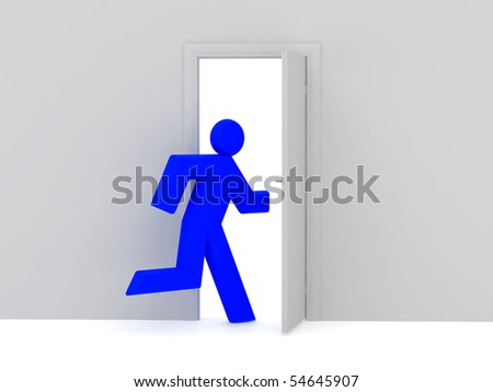 Man 3d rendered illustration isolated on white background and door. High resolution image. - stock photo