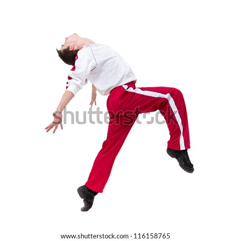 man dancer dancing on studio isolated white background
