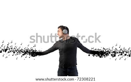 Man dancing to the music - stock photo