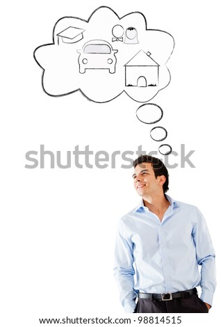 Man day dreaming - isolated over a white background - stock photo