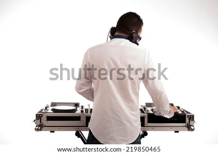 man deejay back against white background - stock photo
