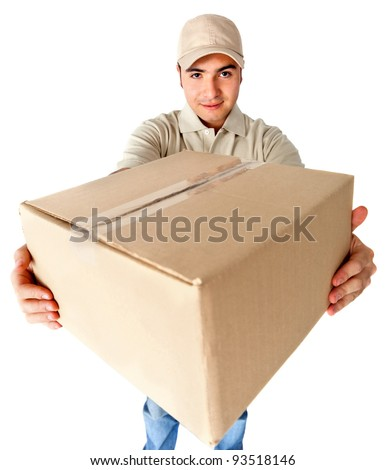Man delivering a package - isolated over a white background - stock photo