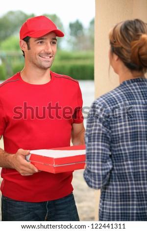man delivering pizza stock photo 159794156 shutterstock. Black Bedroom Furniture Sets. Home Design Ideas
