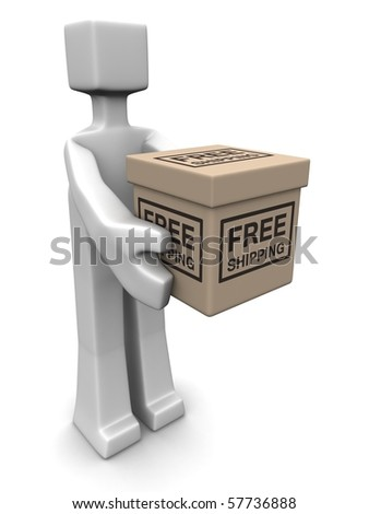 Man delivery a free shipping parcel 3d illustration