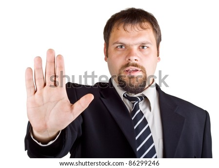 Man denies gesture, isolated on white background - stock photo