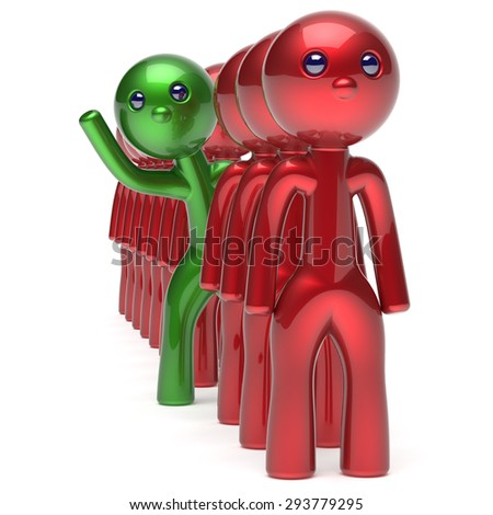 Man different people character individuality stand out from the red crowd unique green think differ person otherwise welcome to new opportunities concept human resources hr icon. 3d render isolated - stock photo