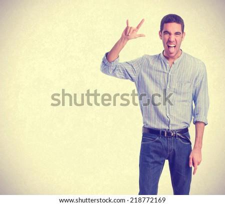 man disagreement gesture - stock photo