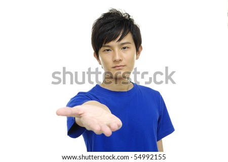 Man displaying something imaginary with his hand isolated - stock photo