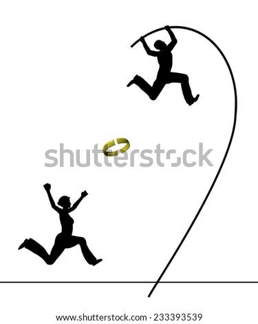 Man divorcing. Humorous concept sign of a husband leaving his wife in panic who is running after him - stock photo