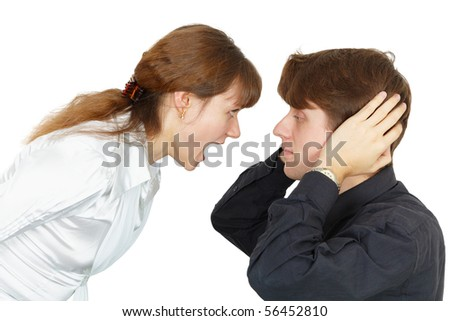 Man does not want to listen to the cries of women isolated on white - stock photo