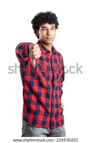 Man Doing a bad Signal  isolated on white Background - stock photo