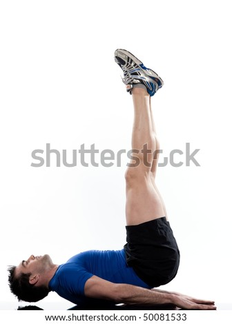 man doing abdominals workout posture on isolated white background. Bridge Hip Elevations - stock photo