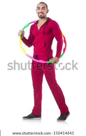 Man doing excecises with hula hoop