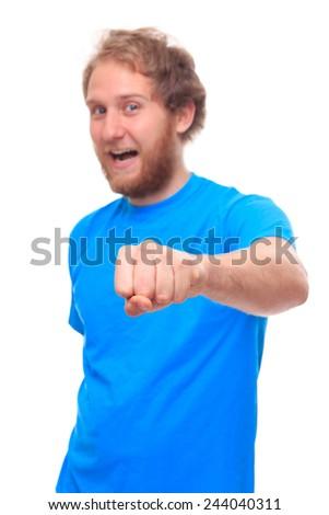 Man doing fist bump on white - studio shoot  - stock photo