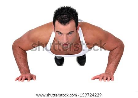 Man doing push-up - stock photo