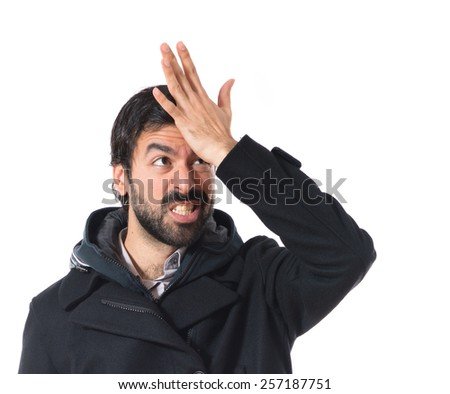 Man doing shock gesture - stock photo