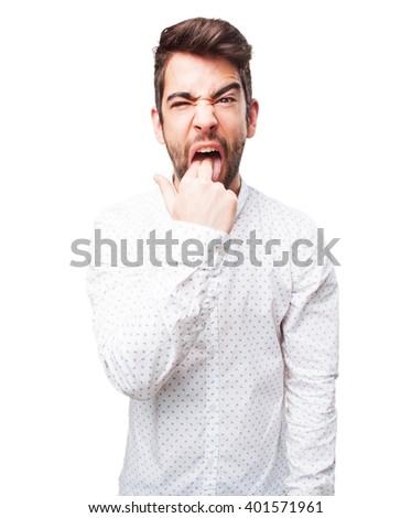 man doing vomit gesture - stock photo