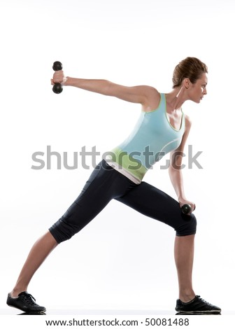 man doing workout Lunges Triceps Extension on white isolated background. - stock photo