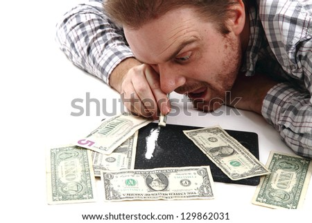 man dollars and cocain (drugs) - stock photo
