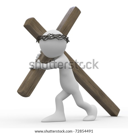 Man dragging a wooden cross with a crown of thorns in the easter week - stock photo