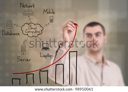 Man drawing a cloud computing diagram on the whiteboard - stock photo