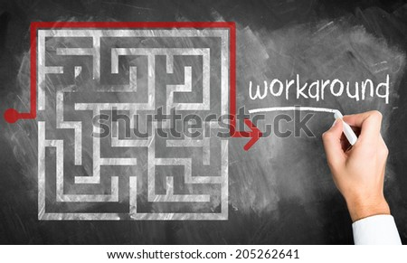 man drawing a maze with a workaround - stock photo