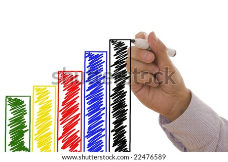 Man drawing an increasing bar/line graph - Business concept - stock photo
