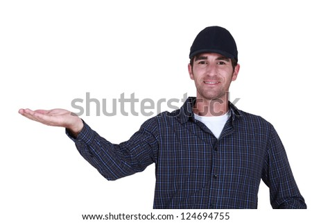 Man drawing attention - stock photo
