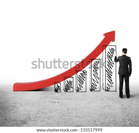 man drawing chart on white background