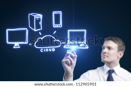 man drawing cloud computing diagram - stock photo