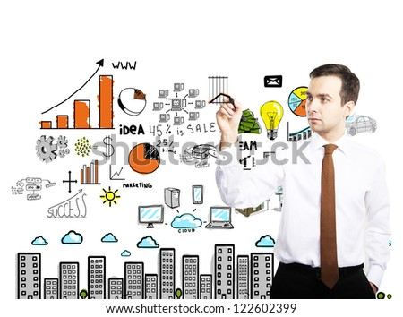 man drawing colorized plan business concept - stock photo