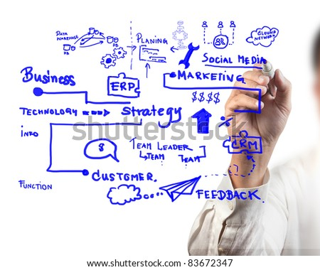 man drawing idea board of business process - stock photo