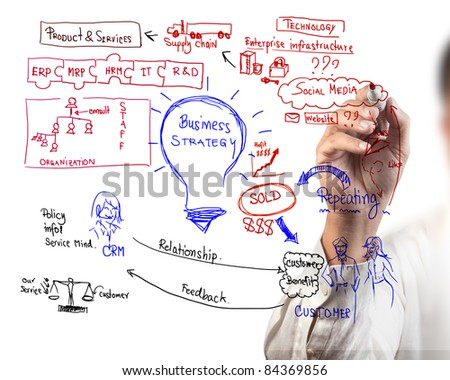 man drawing idea board of business process - stock photo