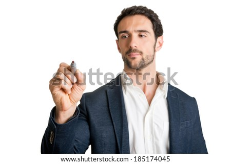Man drawing on glass, isolated in white - stock photo