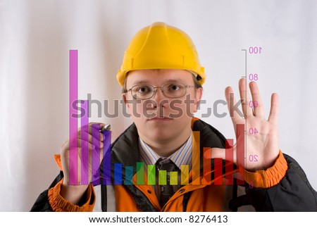 man drawing on  transparent board - stock photo