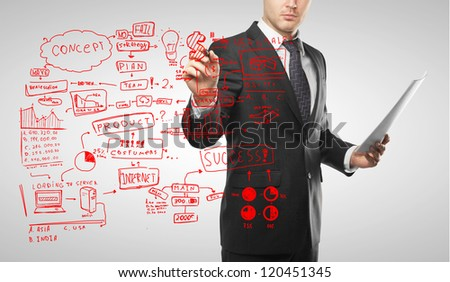 man drawing red business concept - stock photo