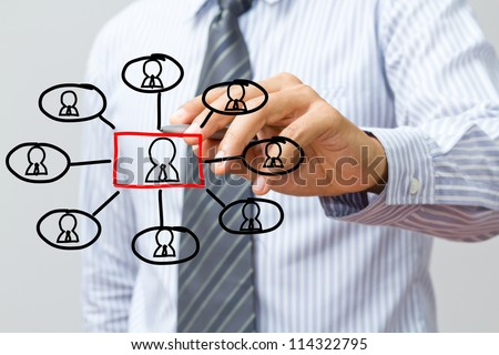 man drawing social network structure in a whiteboard - stock photo