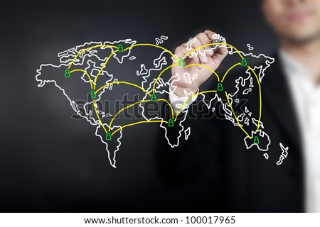 Man drawing World map network on whiteboard