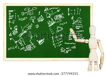 Man draws various graphs and charts on the green chalkboard. Abstract image with a wooden puppet - stock photo