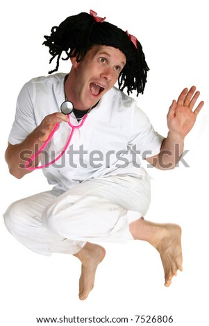 Man dressed a nurse jumping over white.