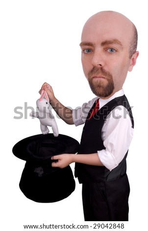 man dressed as a magician pulling a rabbit from his hat isolated over a white background - stock photo