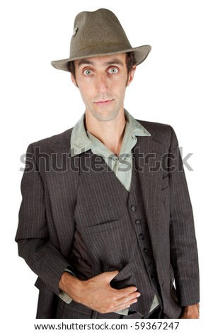 Man dressed as a private detective in the studio - stock photo