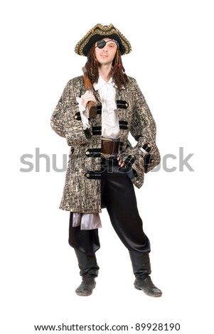 Man dressed as pirate. Isolated on white background - stock photo
