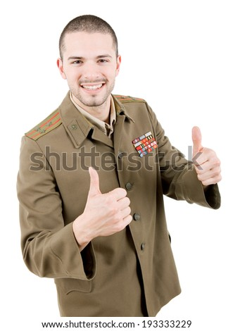 man dressed as russian military going thumbs up, studio