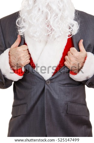 Man dressed in a Santa Claus costume pulls off his suite.