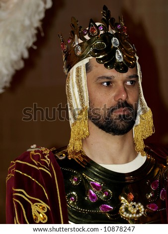 Man dressed up as a Persian ruler during Biblical times